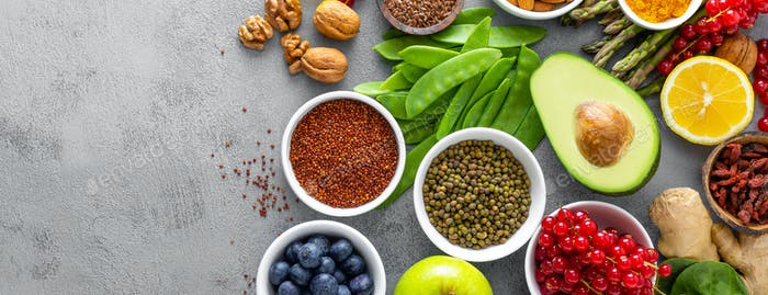 Healthy food background, banner