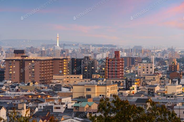 Kyoto, Japan Downtown City Skyline