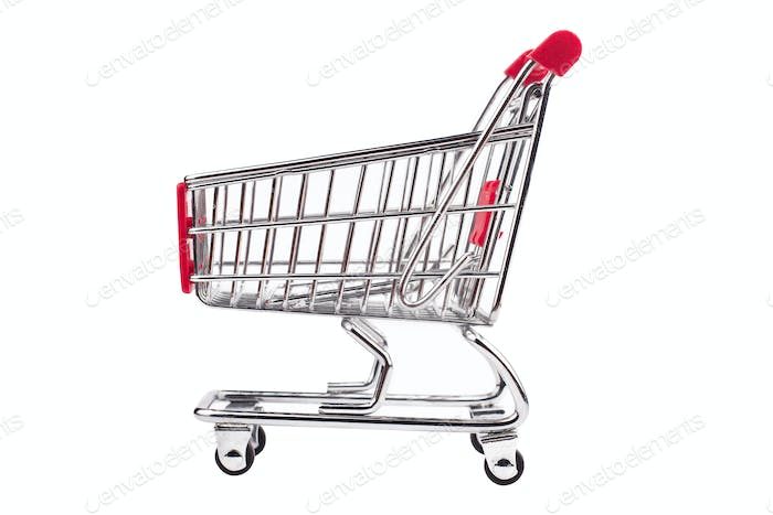 small aluminum shopping cart on white background