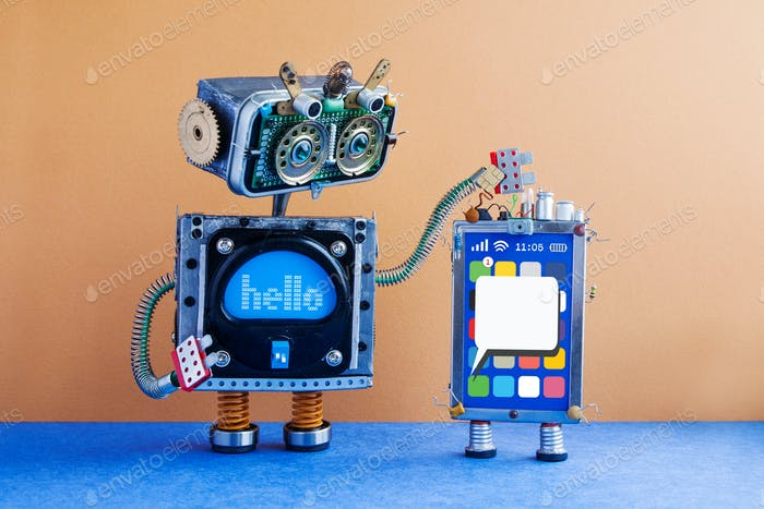 Big robot and mobile smartphone gadget.