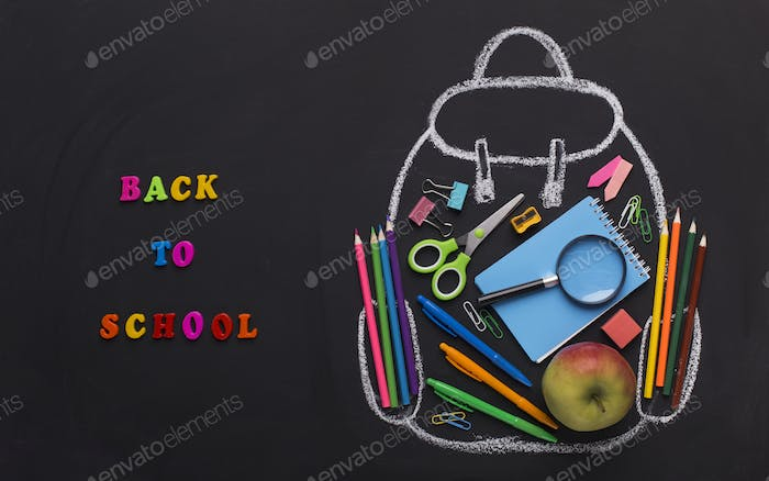 Teenage chalk backpack with office stationery and lunch