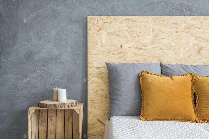 Bed with OSB haeadboard