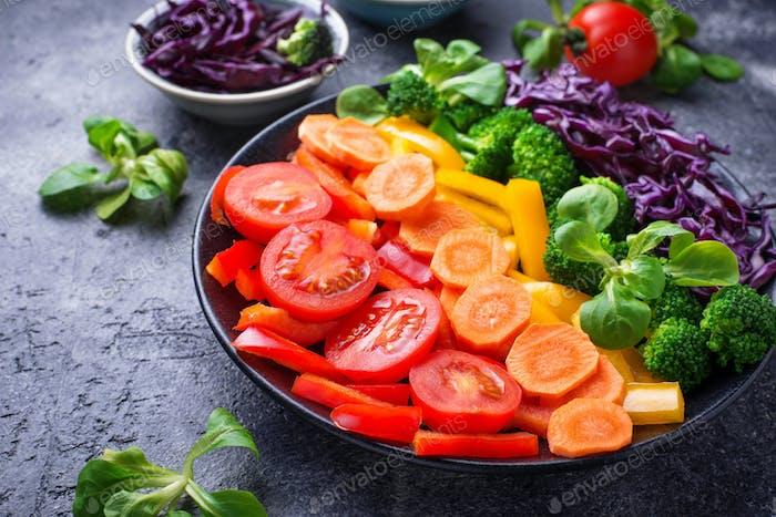 Fresh healthy vegetarian rainbow salad