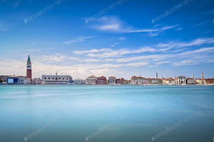 Venice skyline panoramic view, Piazza San Marco with Campanile a