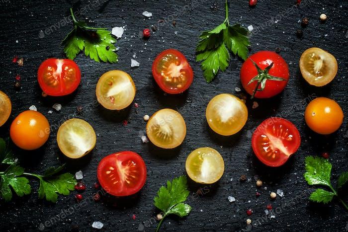 red, yellow and orange cherry tomatoes