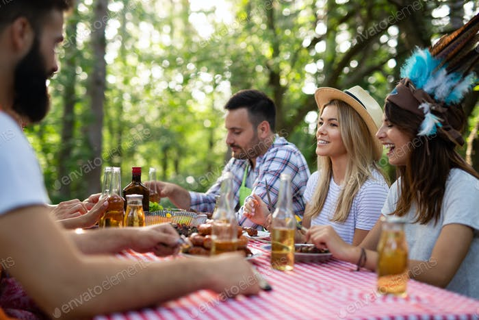 Group of friends having barbecue party in nature