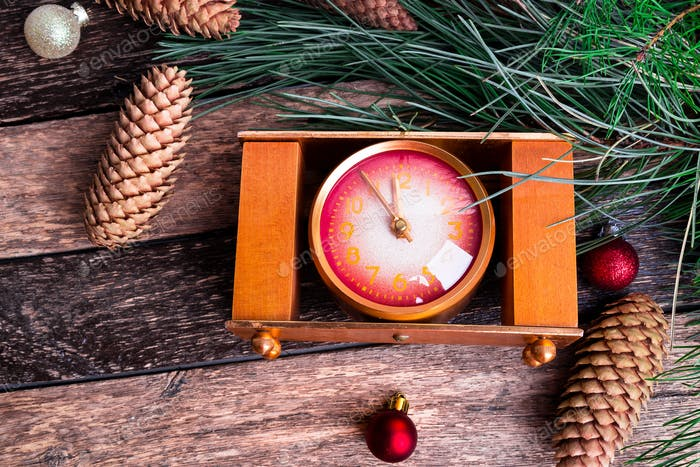 Christmas New Year Composition With Clock Rustic Background. Flat Lay