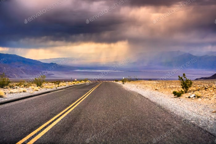 Storm clouds gathering in the evening over Death Valley, California