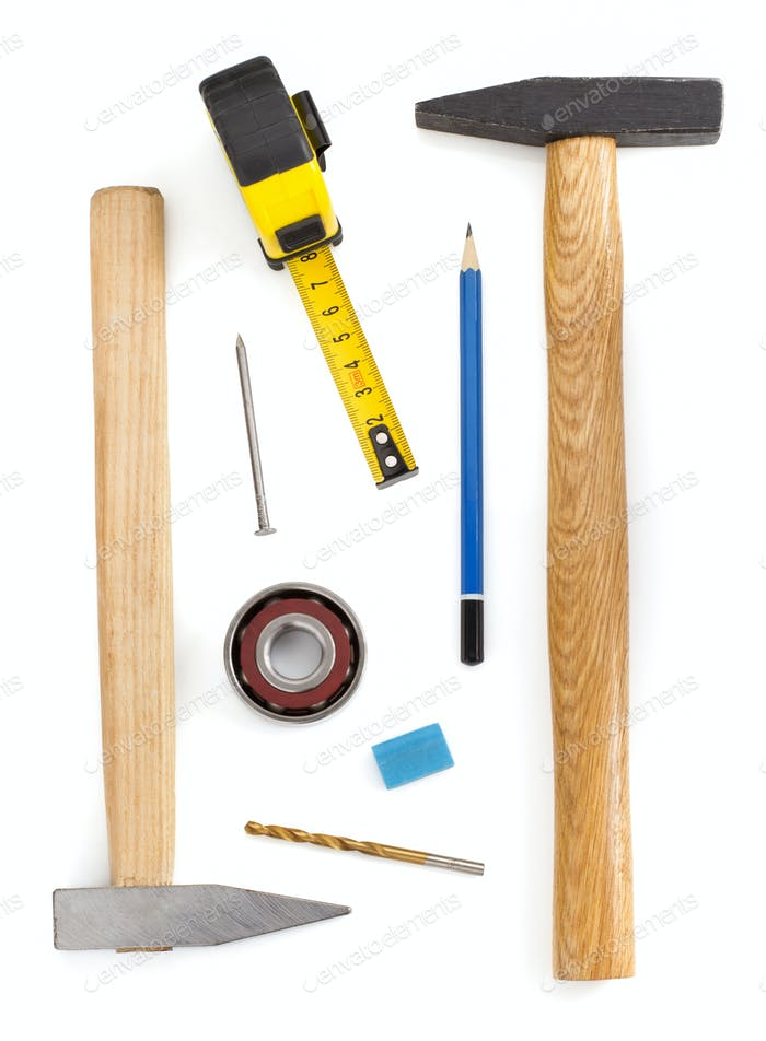 set of tools and instruments  on white