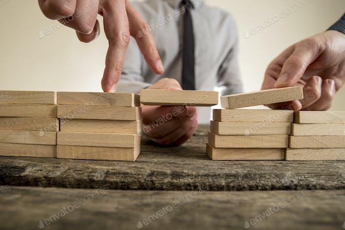 Businessmen solving problems