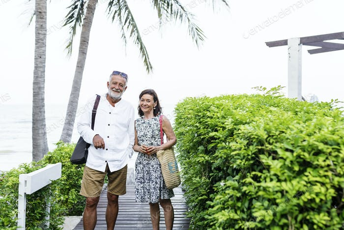 Mature couple posing for a photo at resort