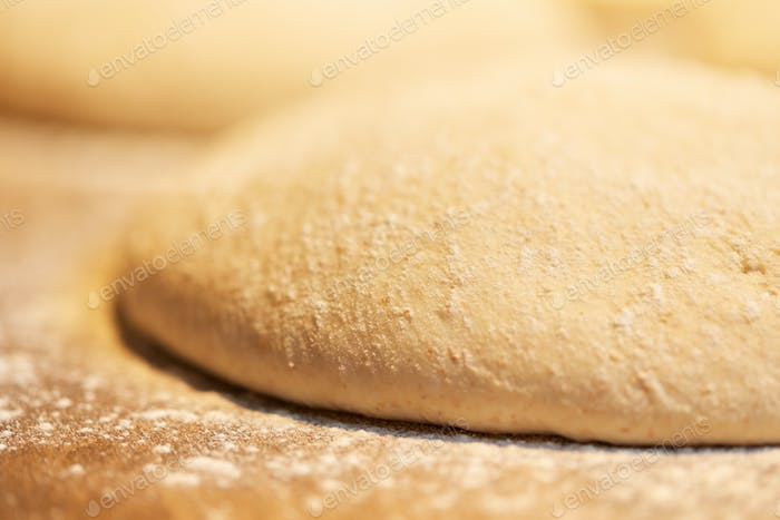 close up of yeast bread dough at bakery