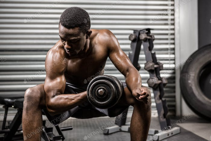 Shirtless man lifting dumbbell on bench at the crossfit gym