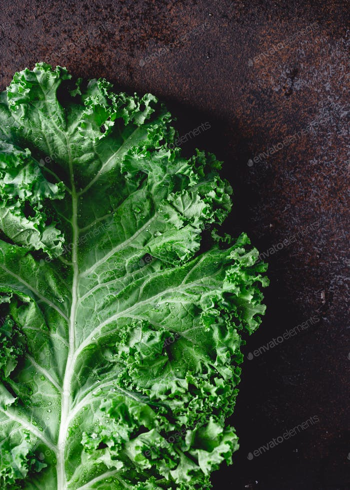 Fresh curly kale salad over dark rustic background. Top view, healthy eating background.