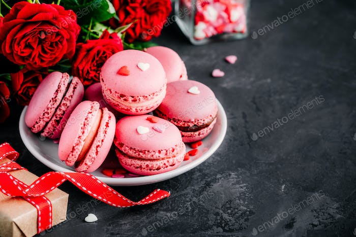 Valentines day pink cake macarons with red roses