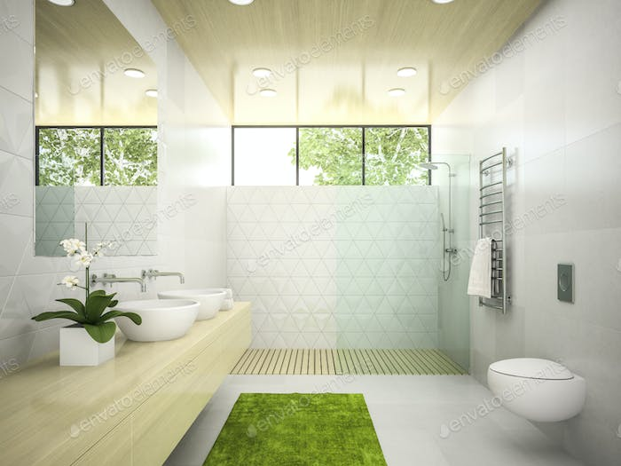 Interior of  bathroom with wooden ceiling 3D rendering 5