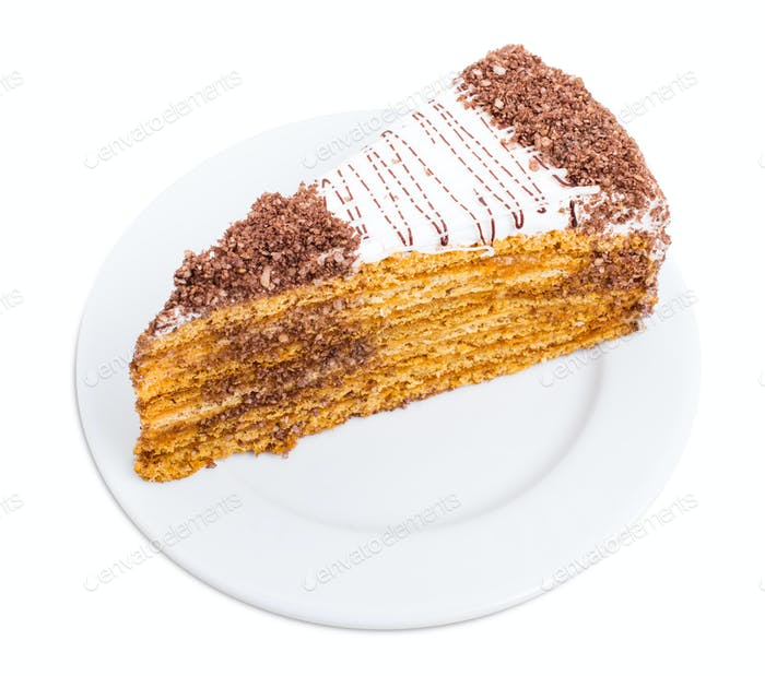Delicious cake with grated chocolate and walnuts.