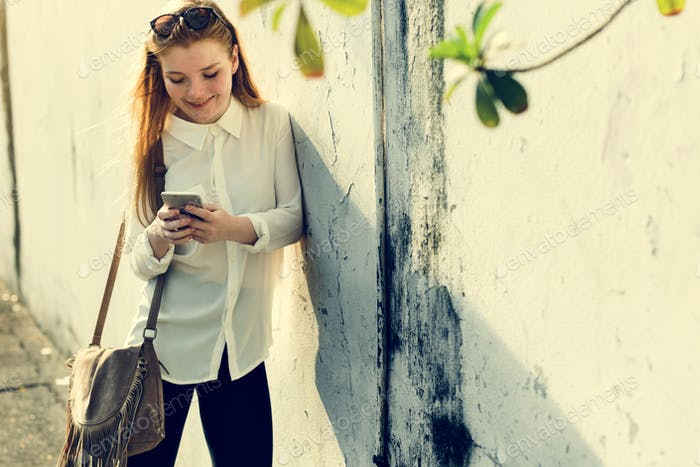 Girl Using Browsing Phone Concept