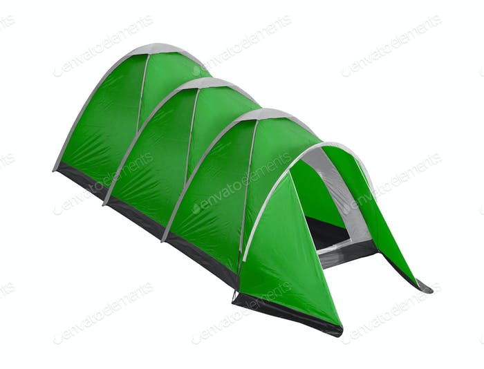 green tent camping isolated