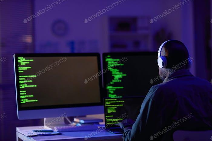 African American Computer Programmer Working