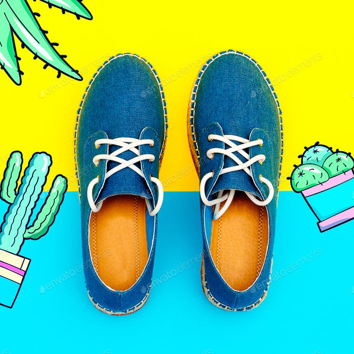 Jeans Moccasins on the platform. Summer fashion trend, stylish s