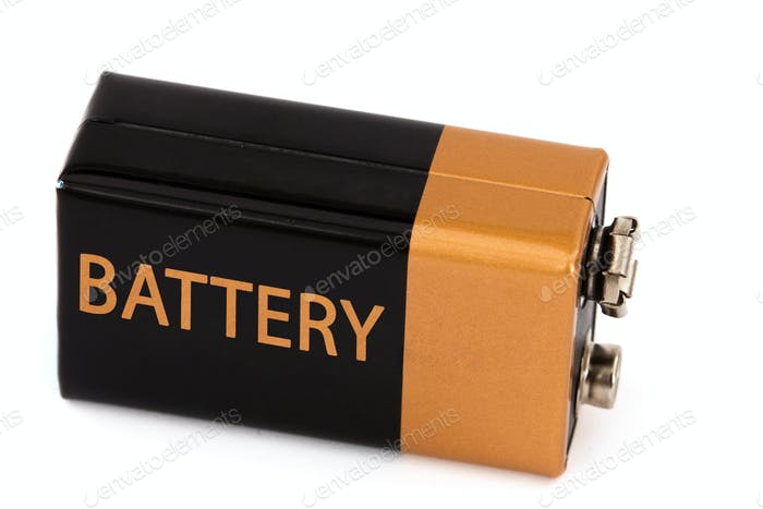 One square battery, isolated on white background