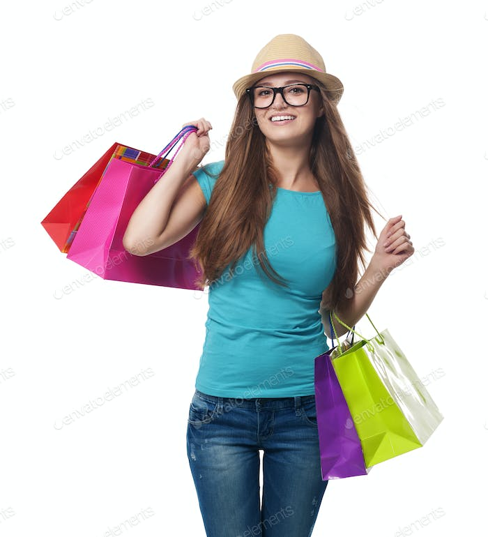 Young woman during the summer sale