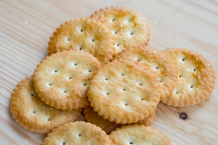 Close-up view of crackers