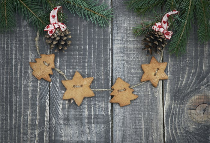 Gingerbread decoration on the wood