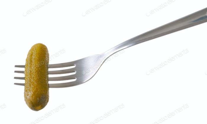 pickled cucumber on fork