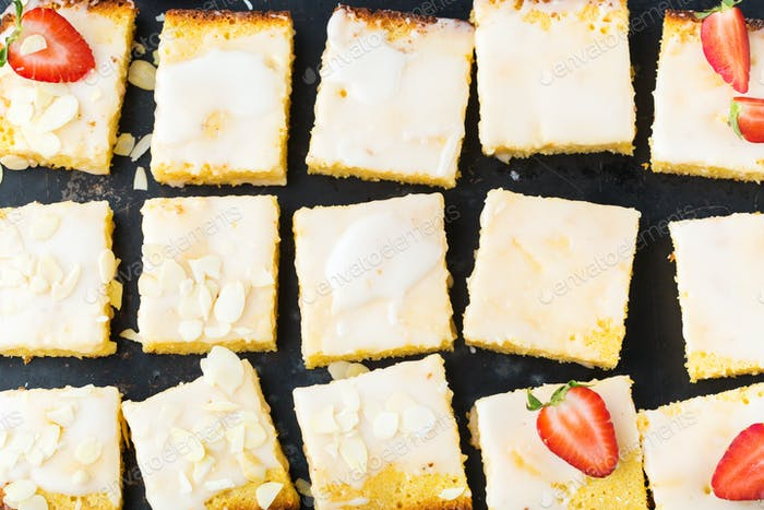 Homemade lemon polenta cookie bars with icing