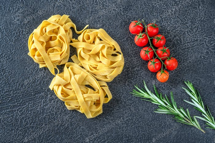 Raw pappardelle pasta