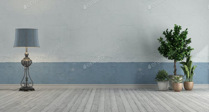 Empty retro room with blue and white old wall