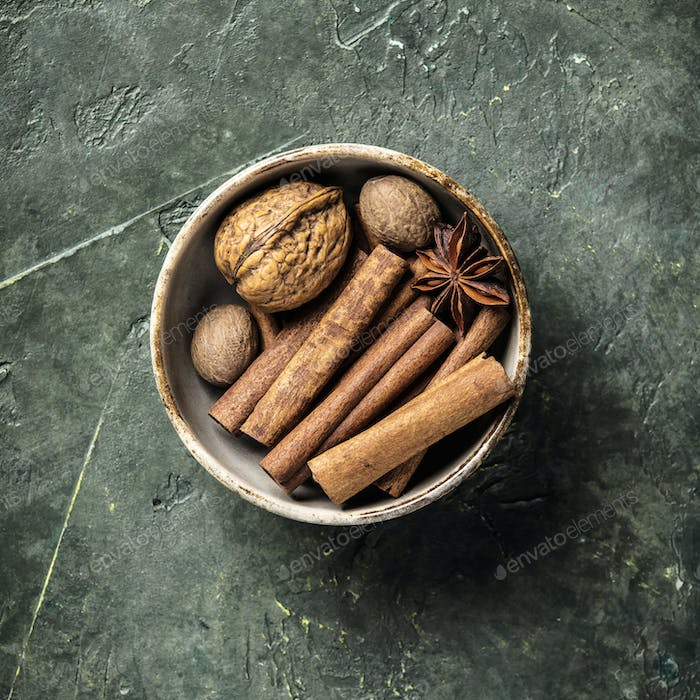 Set of spices on rustic background, flat lay