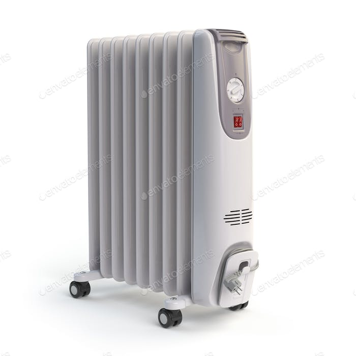 Electric oil heater isolated on white background.