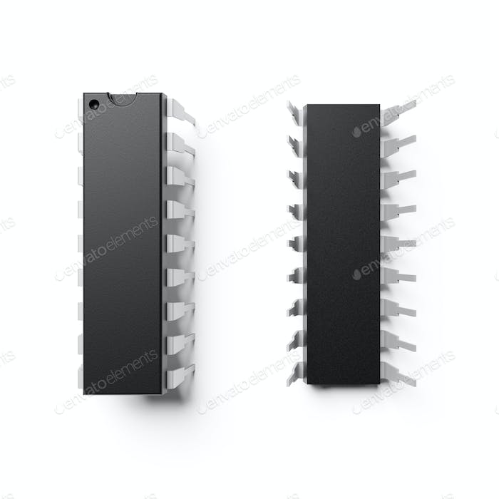 Integrated circuit chip DIP-18 isolated on white. 3D rendering.