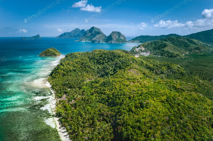 El Nido, Palawan, Philippines. Panoramic aerial view of exotic tropical Bacuit archipelago coastline