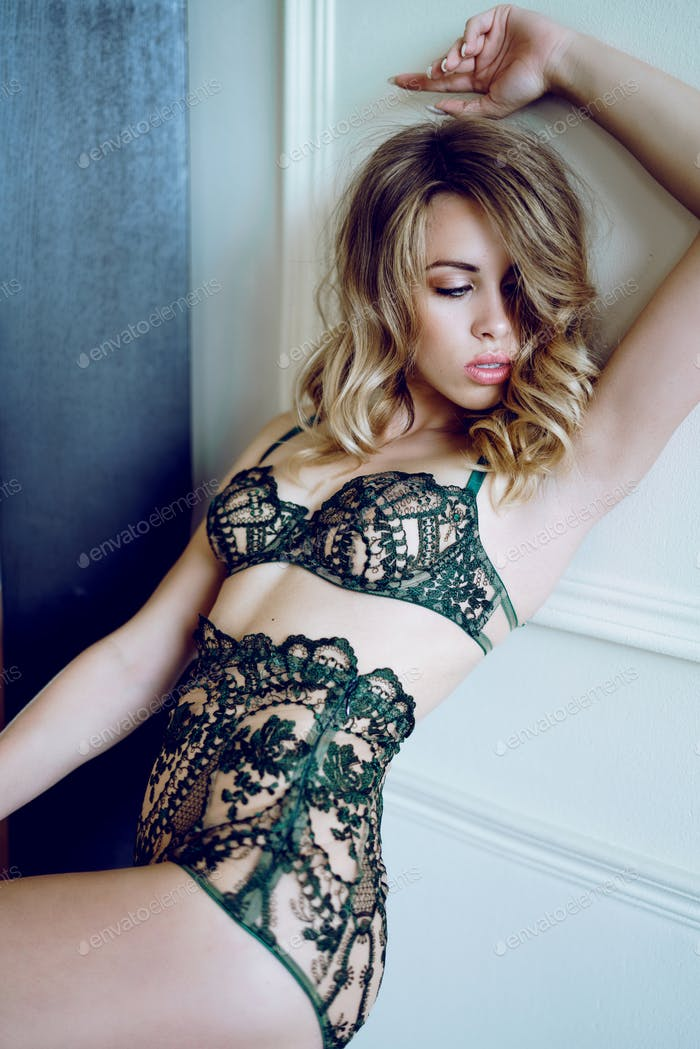 Thumbnail for Beautiful sexy lady in green panties and bra