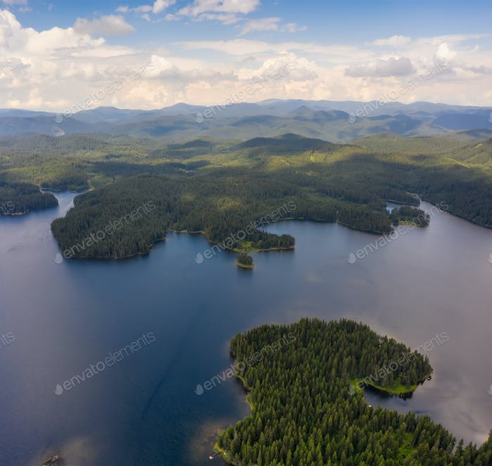 Aerial view of picturesque lake