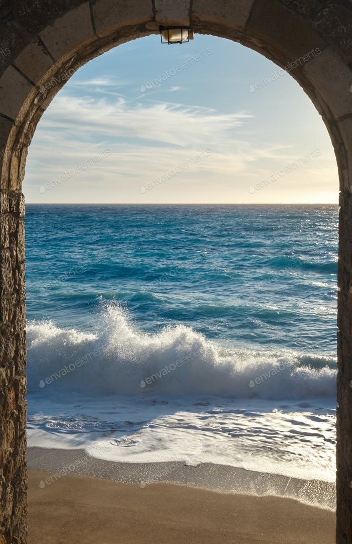 Seashore view through the arch