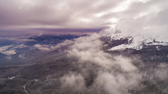 Aerial view beautiful magical clouds