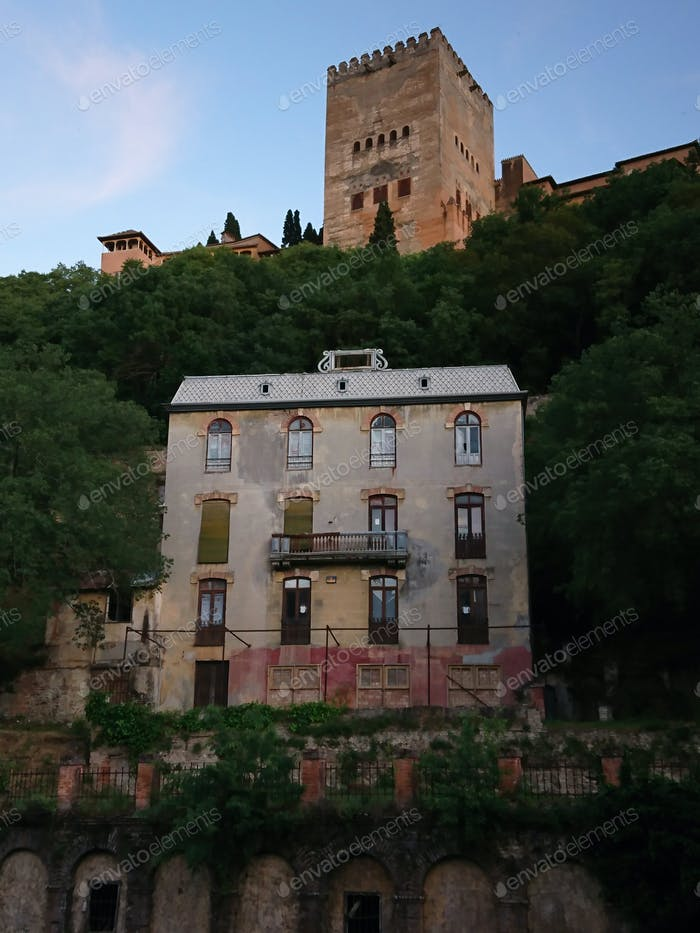 "Views of the old  ""Hotel of the woods"" and the Alhambra at sunset"