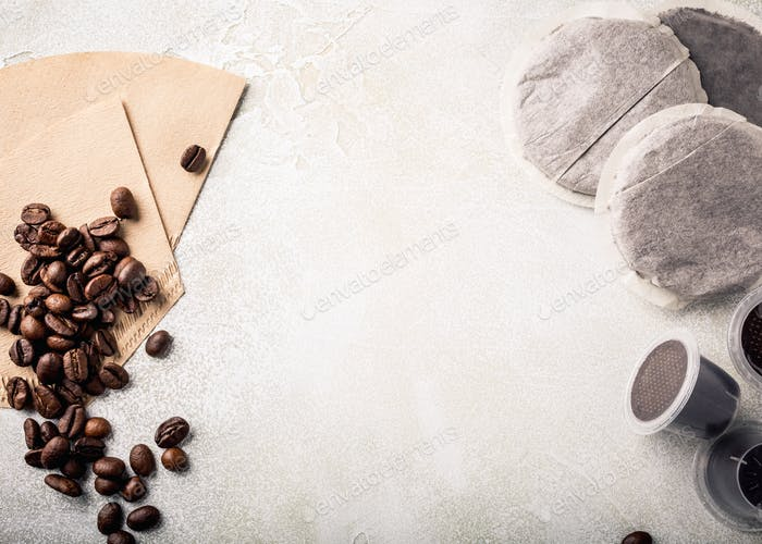 Background with assorted coffee