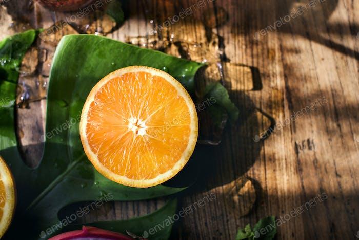 Fresh orange citrus fruit vitamin tropical
