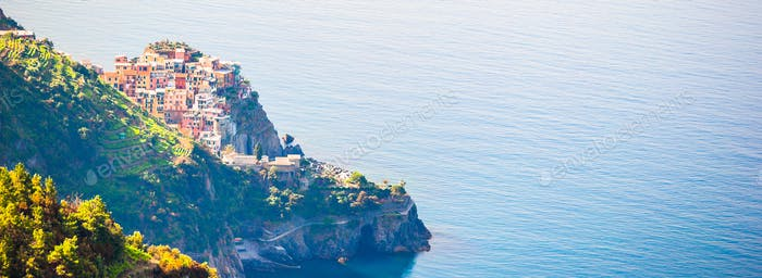 Panoramic view of beautiful view of Corniglia from above. One of five famous colorful villages of