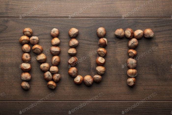 Word Nut Made Of Hazelnuts