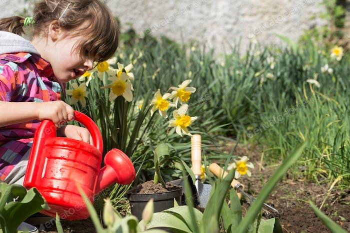 little girl planting flowers in the garden