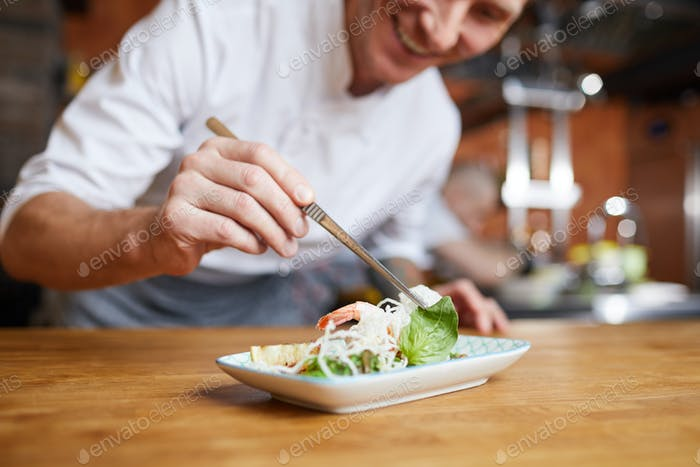 Chef Plating Gourmet Dish Closeup