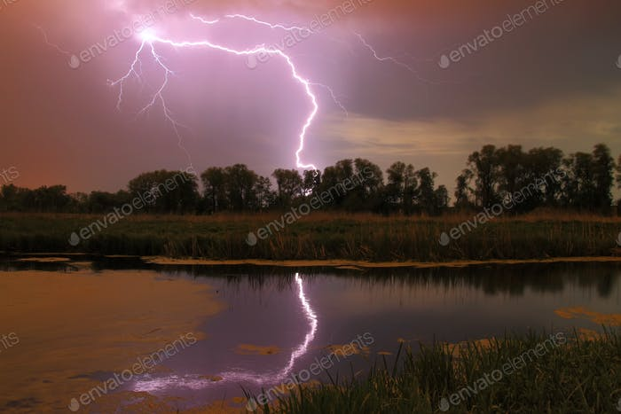 Thunderstorm on the river