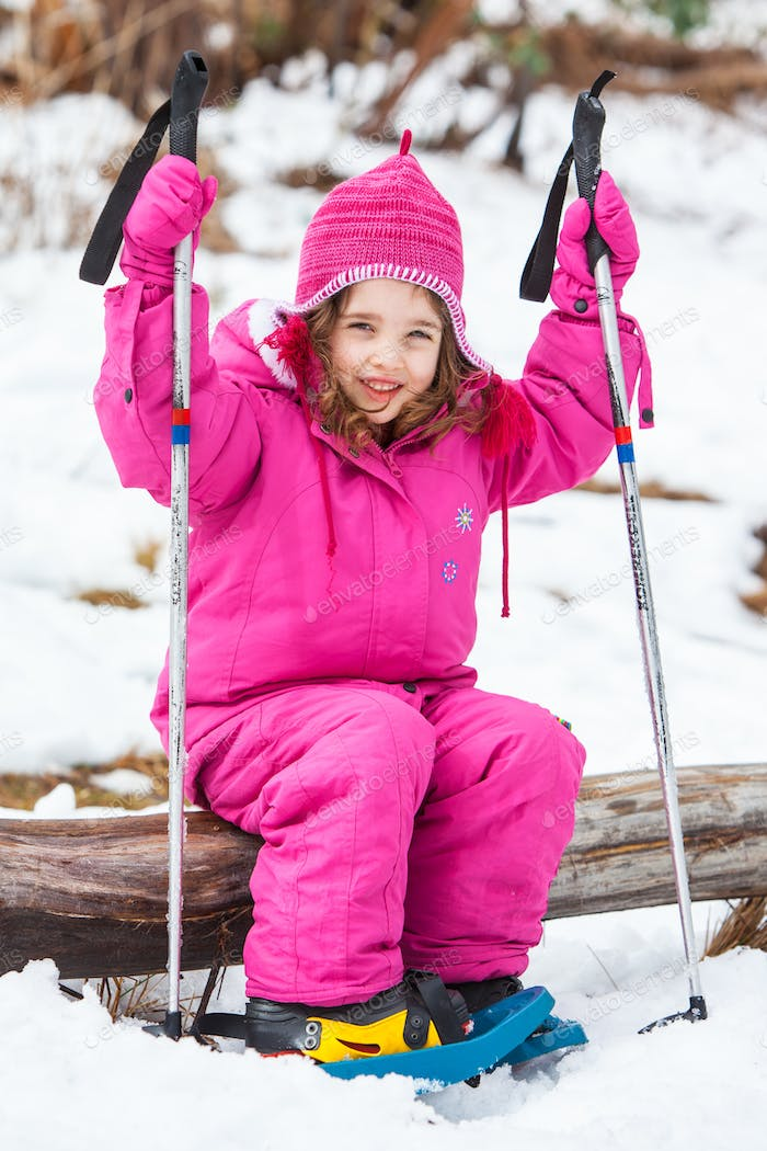 Young Girl Snowshoeing in Australia